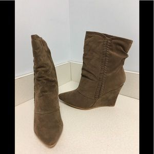 Olive Color Wedge Heel Boots
